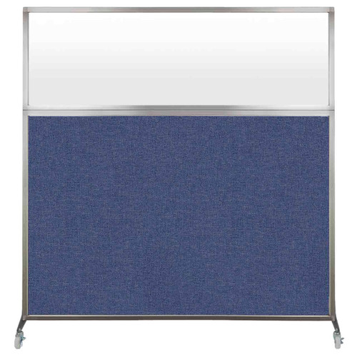 Hush Screen Portable Partition 6' x 6' Cerulean Fabric Frosted Window With Wheels
