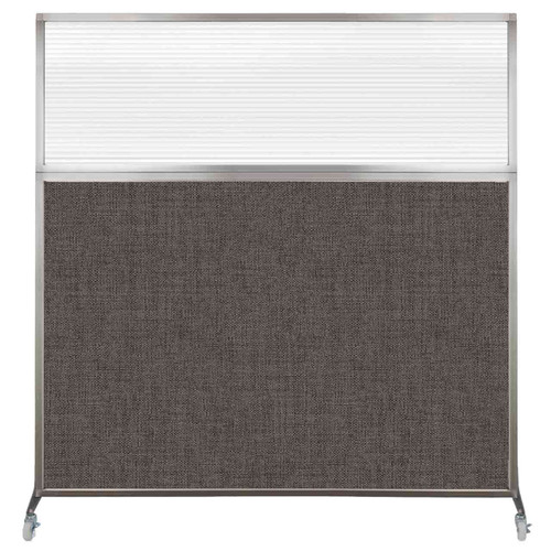 Hush Screen Portable Partition 6' x 6' Mocha Fabric Clear Fluted Window With Wheels