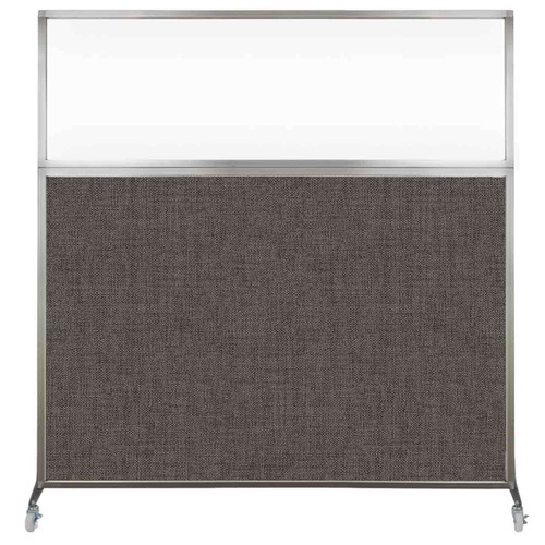 Hush Screen Portable Partition 6' x 6' Mocha Fabric Clear Window With Wheels