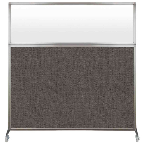 Hush Screen Portable Partition 6' x 6' Mocha Fabric Frosted Window With Wheels