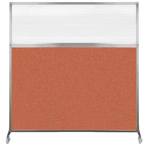 Hush Screen Portable Partition 6' x 6' Papaya Fabric Clear Fluted Window With Wheels