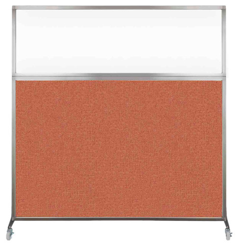 Hush Screen Portable Partition 6' x 6' Papaya Fabric Clear Window With Wheels