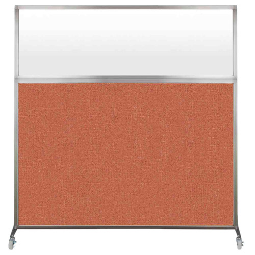 Hush Screen Portable Partition 6' x 6' Papaya Fabric Frosted Window With Wheels