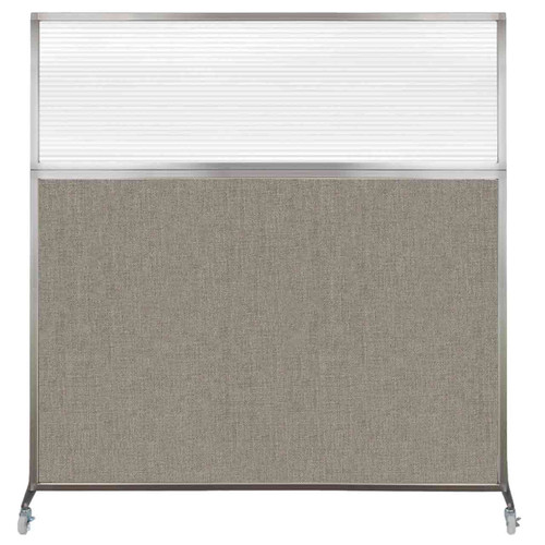 Hush Screen Portable Partition 6' x 6' Warm Pebble Fabric Clear Fluted Window With Wheels