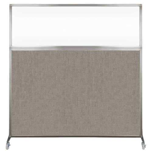 Hush Screen Portable Partition 6' x 6' Warm Pebble Fabric Clear Window With Wheels