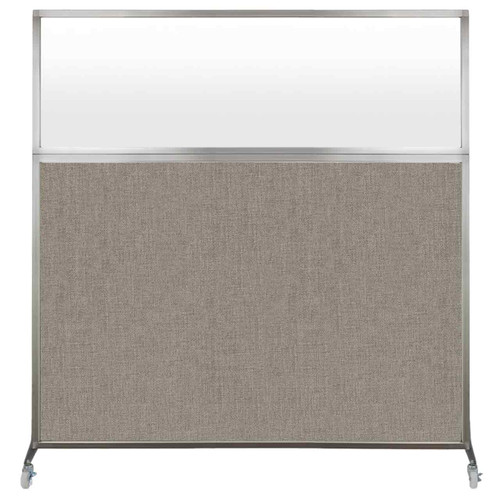 Hush Screen Portable Partition 6' x 6' Warm Pebble Fabric Frosted Window With Wheels