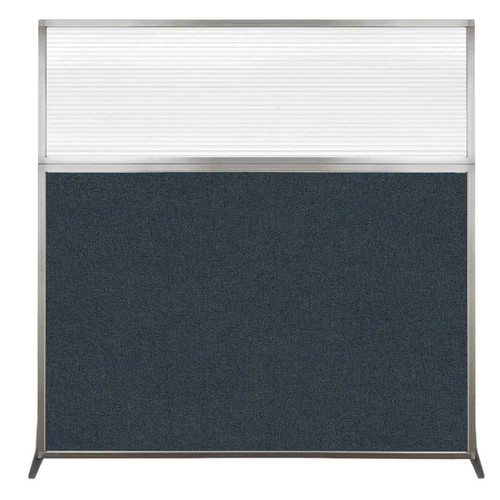 Hush Screen Portable Partition 6' x 6' Blue Spruce Fabric Clear Fluted Window Without Wheels
