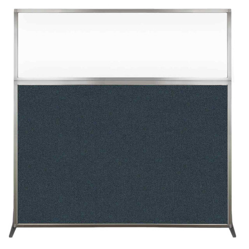 Hush Screen Portable Partition 6' x 6' Blue Spruce Fabric Clear Window Without Wheels