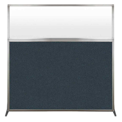 Hush Screen Portable Partition 6' x 6' Blue Spruce Fabric Frosted Window Without Wheels