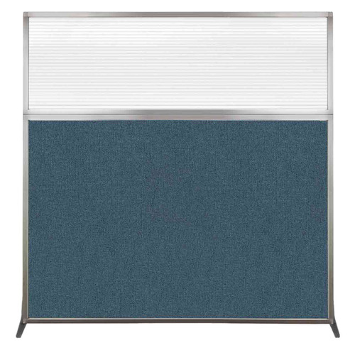 Hush Screen Portable Partition 6' x 6' Caribbean Fabric Clear Fluted Window Without Wheels