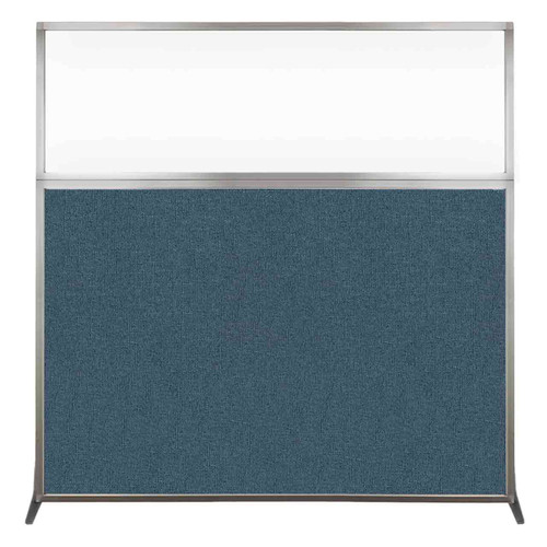 Hush Screen Portable Partition 6' x 6' Caribbean Fabric Clear Window Without Wheels