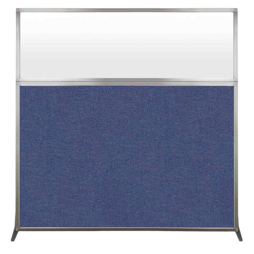 Hush Screen Portable Partition 6' x 6' Cerulean Fabric Frosted Window Without Wheels