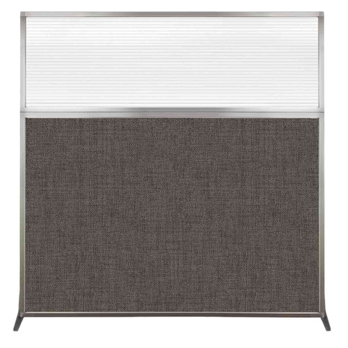 Hush Screen Portable Partition 6' x 6' Mocha Fabric Clear Fluted Window Without Wheels