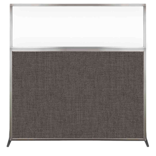 Hush Screen Portable Partition 6' x 6' Mocha Fabric Clear Window Without Wheels