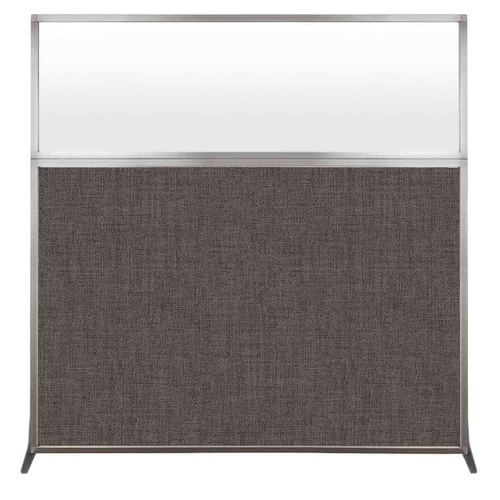 Hush Screen Portable Partition 6' x 6' Mocha Fabric Frosted Window Without Wheels