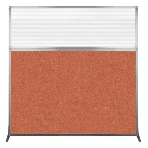 Hush Screen Portable Partition 6' x 6' Papaya Fabric Clear Fluted Window Without Wheels