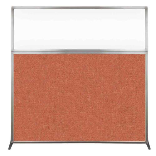 Hush Screen Portable Partition 6' x 6' Papaya Fabric Clear Window Without Wheels