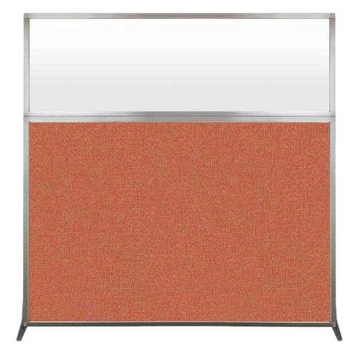 Hush Screen Portable Partition 6' x 6' Papaya Fabric Frosted Window Without Wheels