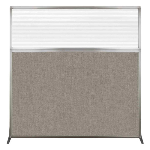 Hush Screen Portable Partition 6' x 6' Warm Pebble Fabric Clear Fluted Window Without Wheels