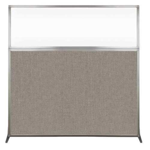 Hush Screen Portable Partition 6' x 6' Warm Pebble Fabric Clear Window Without Wheels