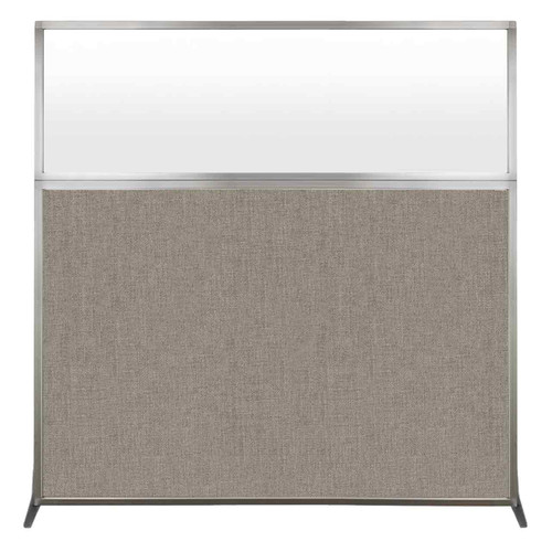 Hush Screen Portable Partition 6' x 6' Warm Pebble Fabric Frosted Window Without Wheels