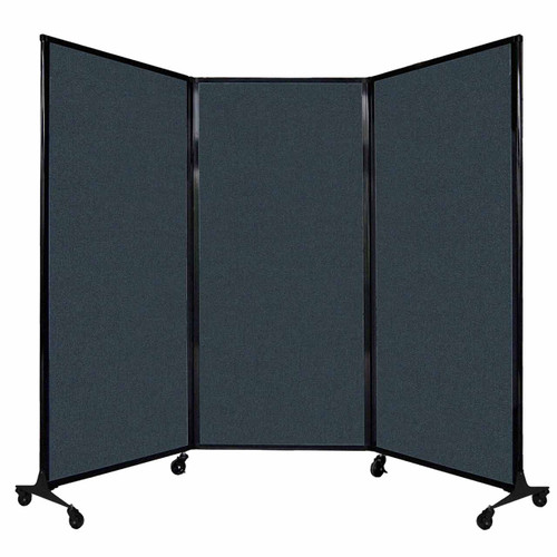 "QuickWall Folding Portable Partition 8'4"" x 5'10"" Blue Spruce Fabric"