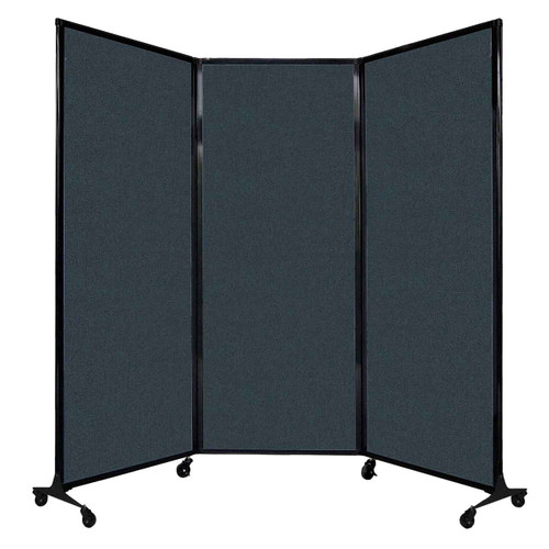 "QuickWall Folding Portable Partition 8'4"" x 6'8"" Blue Spruce Fabric"