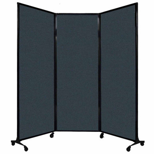 "QuickWall Folding Portable Partition 8'4"" x 7'4"" Blue Spruce Fabric"