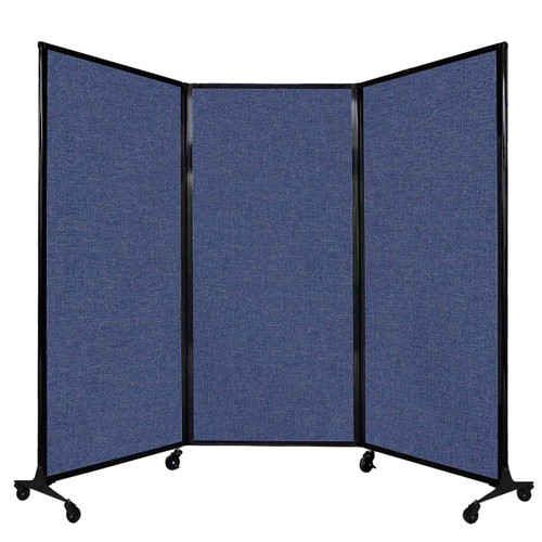"QuickWall Folding Portable Partition 8'4"" x 5'10"" Cerulean Fabric"