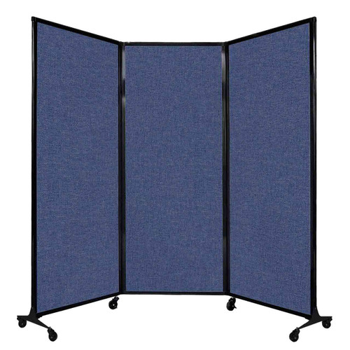 """QuickWall Folding Portable Partition 8'4"""" x 6'8"""" Cerulean Fabric"""