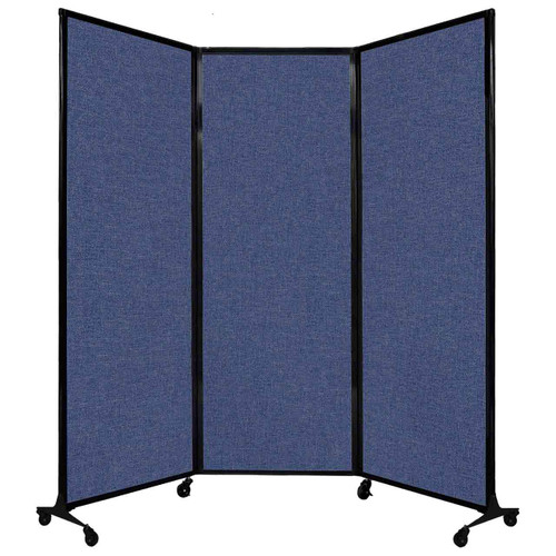 "QuickWall Folding Portable Partition 8'4"" x 7'4"" Cerulean Fabric"