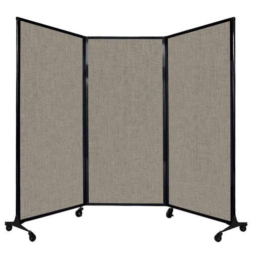 "QuickWall Folding Portable Partition 8'4"" x 5'10"" Warm Pebble Fabric"