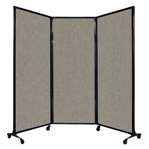 "QuickWall Folding Portable Partition 8'4"" x 6'8"" Warm Pebble Fabric"