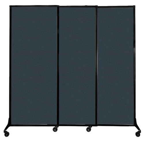 """QuickWall Sliding Portable Partition 7' x 6'8"""" Blue Spruce Fabric"""
