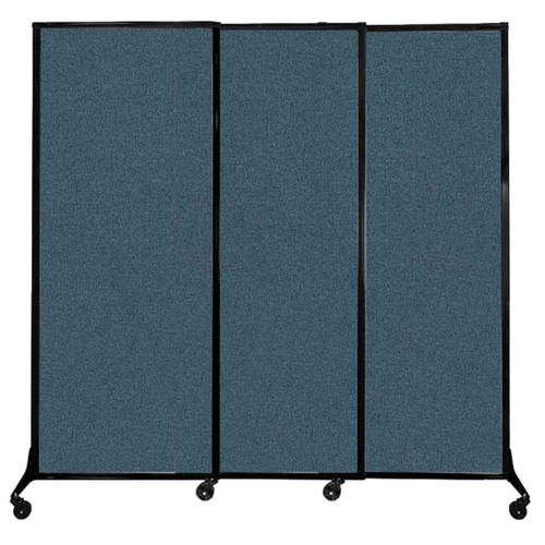 """QuickWall Sliding Portable Partition 7' x 6'8"""" Caribbean Fabric"""
