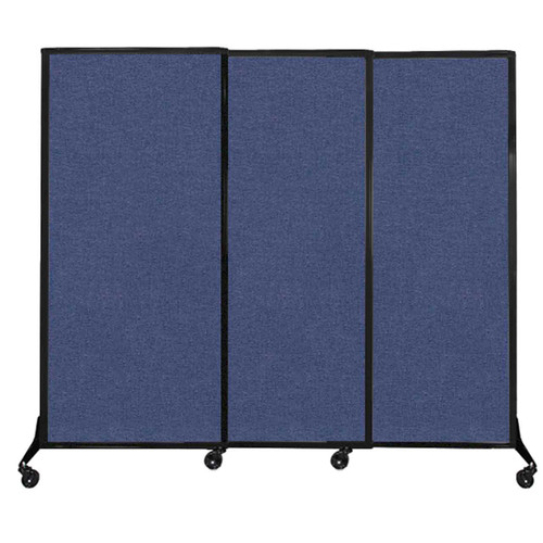 "QuickWall Sliding Portable Partition 7' x 5'10"" Cerulean Fabric"