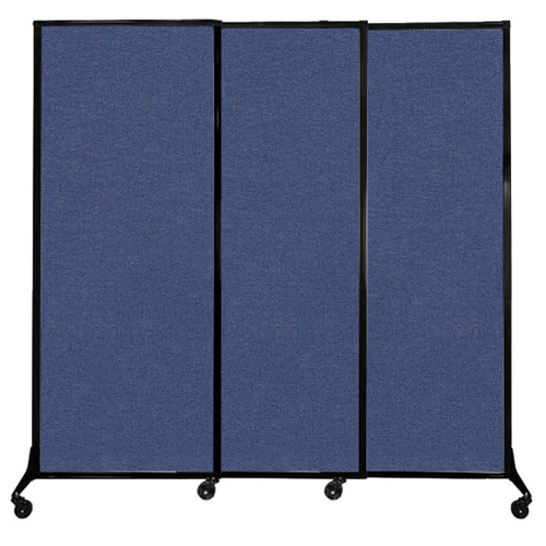 """QuickWall Sliding Portable Partition 7' x 6'8"""" Cerulean Fabric"""
