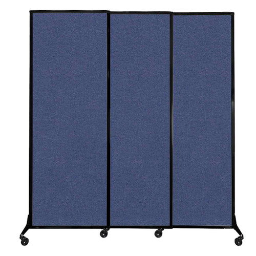 """QuickWall Sliding Portable Partition 7' x 7'4"""" Cerulean Fabric"""