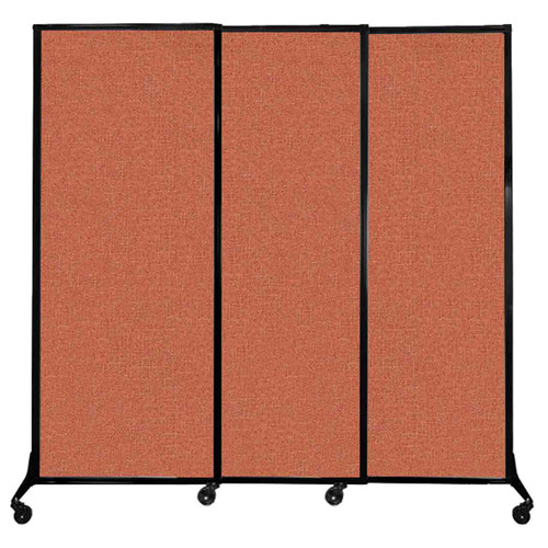 "QuickWall Sliding Portable Partition 7' x 6'8"" Papaya Fabric"