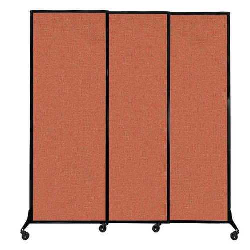 "QuickWall Sliding Portable Partition 7' x 7'4"" Papaya Fabric"