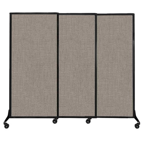 """QuickWall Sliding Portable Partition 7' x 5'10"""" Warm Pebble Fabric"""