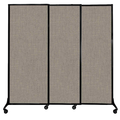 """QuickWall Sliding Portable Partition 7' x 6'8"""" Warm Pebble Fabric"""