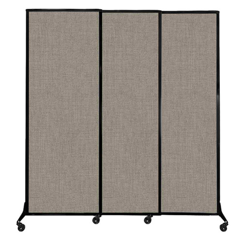 "QuickWall Sliding Portable Partition 7' x 7'4"" Warm Pebble Fabric"