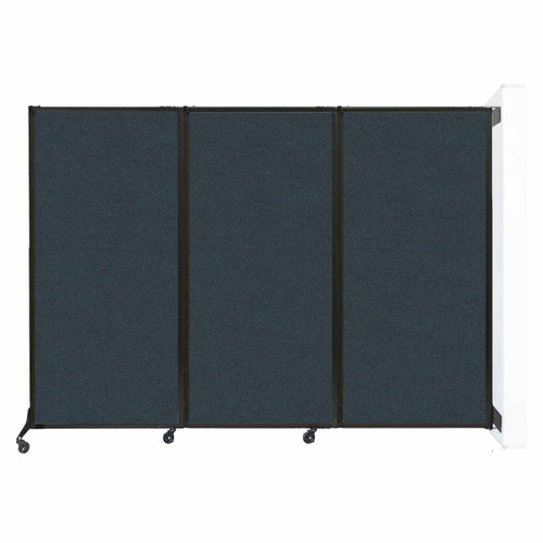 """Wall-Mounted QuickWall Folding Portable Partition 8'4"""" x 5'10"""" Blue Spruce Fabric"""