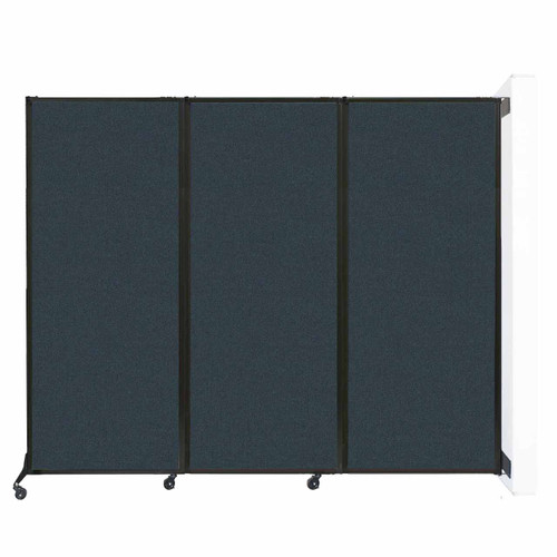 """Wall-Mounted QuickWall Folding Portable Partition 8'4"""" x 6'8"""" Blue Spruce Fabric"""