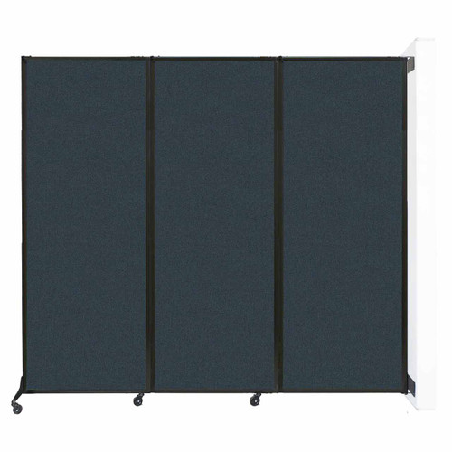 """Wall-Mounted QuickWall Folding Portable Partition 8'4"""" x 7'4"""" Blue Spruce Fabric"""