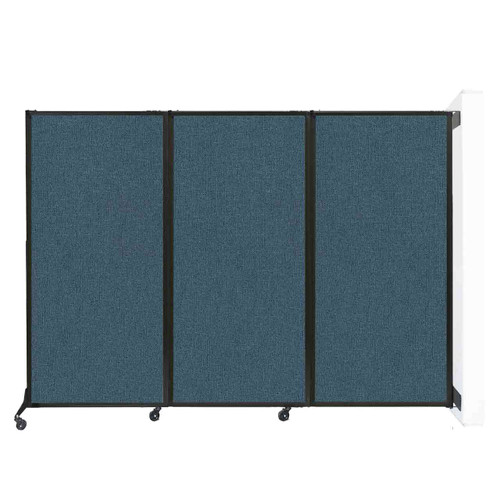 """Wall-Mounted QuickWall Folding Portable Partition 8'4"""" x 5'10"""" Caribbean Fabric"""
