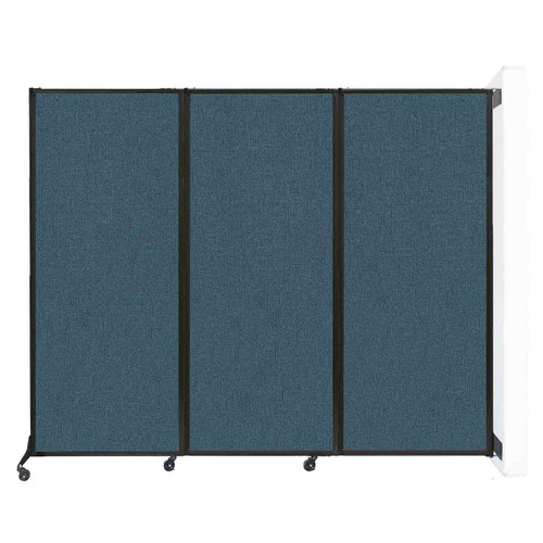 """Wall-Mounted QuickWall Folding Portable Partition 8'4"""" x 6'8"""" Caribbean Fabric"""