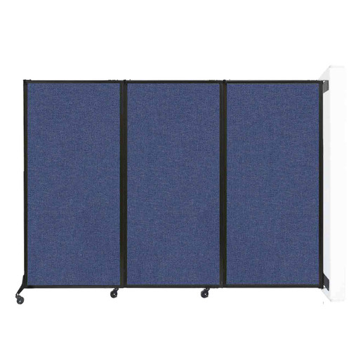 """Wall-Mounted QuickWall Folding Portable Partition 8'4"""" x 5'10"""" Cerulean Fabric"""