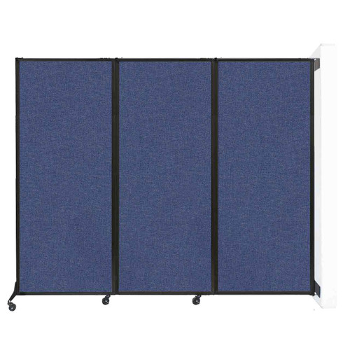 """Wall-Mounted QuickWall Folding Portable Partition 8'4"""" x 6'8"""" Cerulean Fabric"""